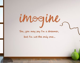 John Lennon Imagine Vinyl Wall Decal Sticker The Beatles Song Lyrics