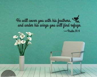 Psalm 91:4 He Will Cover You With His Feathers Vinyl Wall Decal Sticker Bible Verse