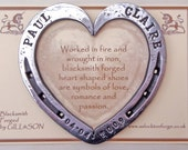 "Personalised Blacksmith Forged commemorative Shoe; Heart shaped and gift packaged...approx 4.5"" (10.5 cm)"