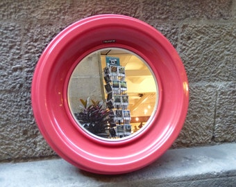 Red round Italian design mirror, from the 60-70's
