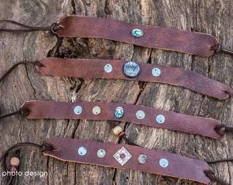 Hippie Leather Headband/ Boho Leather Arm Cuff- Upcycled Leather