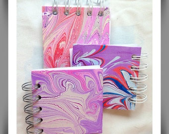 Micro Journal, Marbled journal, Hand marbled notebooks, Mens journals, Ladies notebooks, Party gifts, Hardback notebook