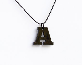 Personalized custom serif font laser cut acrylic typography letter initial charm necklace