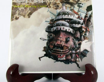 Studio Ghibli collectible art ceramic tile Howl's moving Castle Ceramic Tile 10th Anniversary 2004 / 2014 Miyazaki Mod.1