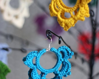 Crocheted soft cotton lotus flowers earrings
