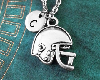 Football Necklace, Personalized Football Gift, Football Helmet Pendant Necklace, Custom Necklace, Football Charm Necklace, Monogram Necklace