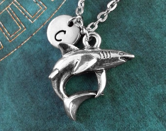 Shark Necklace, Personalized Necklace, Shark Pendant, Custom Necklace, Silver Necklace, Monogram Necklace, Shark Charm Necklace