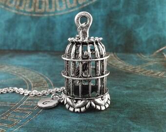 Birdcage Necklace, Personalized Necklace, BIG Bird Cage Pendant, Custom Necklace Cage Jewelry Birdcage Charm Necklace Bird Jewelry Bird Gift