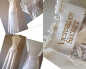 S / Satin Nightgown Lingerie / Long Bridal Gown / Liquid Silk / By Vintage Victoria's Secret / Size Small / FREE Shipping