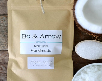 Bo & Arrow Unscented Sugar Scrub Coconut Oil Body Polish Exfoliate Skin Natural Handmade Skin Care Australia JDog and T