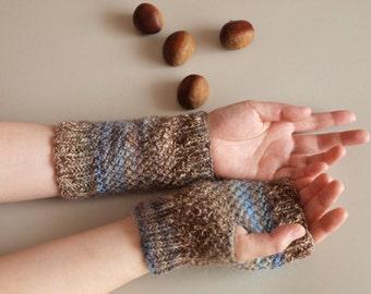 Hand knit wrist warmers, Hand knit fingerless gloves