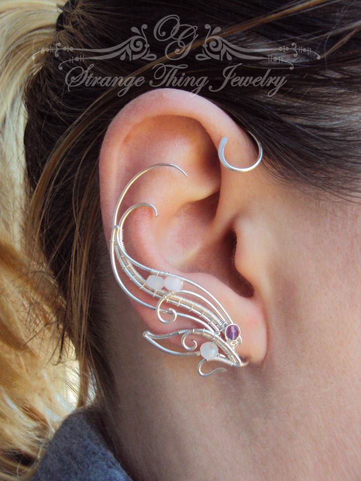 Pair of wire wrapped ear cuff Flying to the Edge of the World