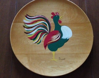 "Mid-Century Folk Art Rooster, Margaret Studios, 12 1/2"" Round, Handpainted Wood Platter for hanging, signed and numbered"