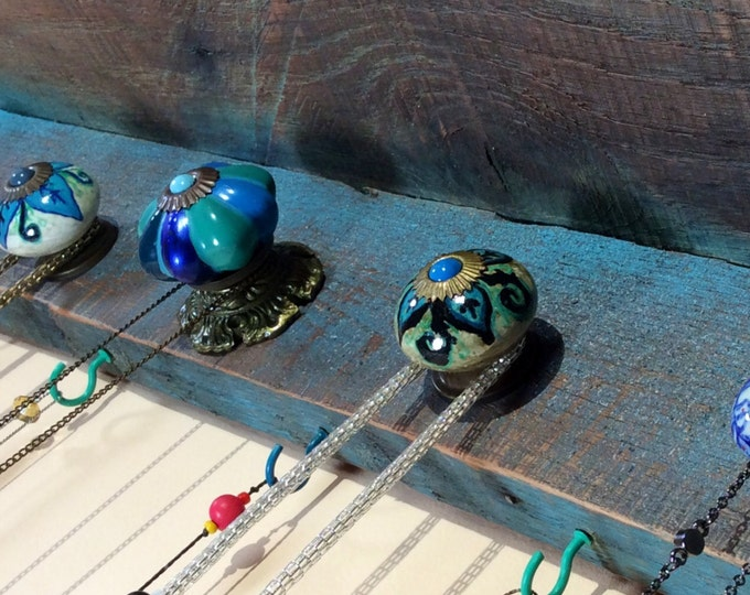 Made to order -Floating shelves /wall hanging accent shelving boho storage organizer /rustic jewelry holder shelf blue stone 5 knobs 6 hooks