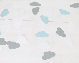 Cloud Confetti- White, Grey, and Light Blue Cloud Confetti- Cloud Baby Shower- Blue Boy Baby Shower- Baby Shower Confetti
