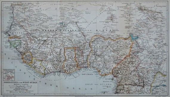 Upper Guinea and West-Sudan map at the beginning of 20th century. 1904. Antique  illustration. 111 years.  9'6 x  16'2 inches.