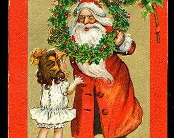 1907 Tucks Santa Claus with Girl Postcard