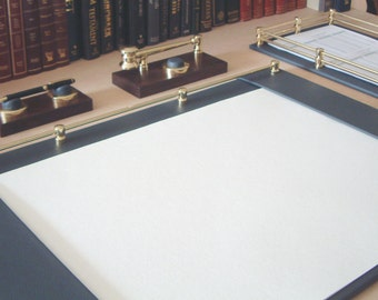 Fabulous Black Leather & Brass Desk Blotter - A Splendid Addition For A Home or Office Desk (Size: 700 mm x 500 mm)