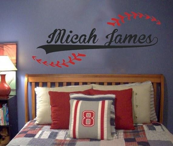 Baseball Theme Bedroom: Custom Name Added To Baseball Vinyl Wall By WordFactoryDesign