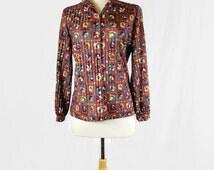 Vintage Graff Californiawear Women's Button Down Shirt Groovy 1970s
