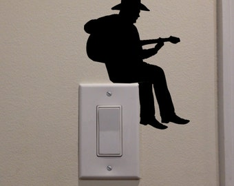"""Cowboy Playing Guitar On Light Switch (5.1""""x4"""") - Bedroom/Home Decor Decal"""