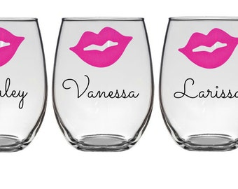 Lips with Name Stemless Wine Glasses, Personalized Bachelorette Glasses, Bachelorette Party Wine Glass, Girls Night Out
