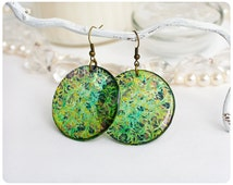 Resin Transparent  Green Earrings with ornament