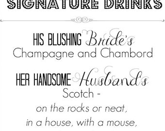 8x10 Personalized Signature Drink Print 8x10