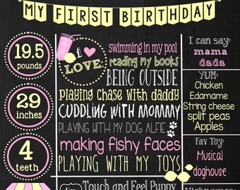 First Birthday Chalkboard - pink lemonade party theme chalkboard- Baby's First Birthday chalkboard- 16x20 printable