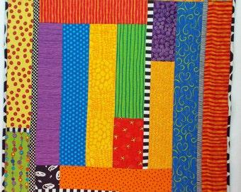Baby Quilt , Wall Quilt, Colorful quilt, original quilt design, lap quilt