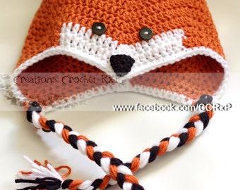 Made to order cute fox crochet hat earflap tassels ears animal