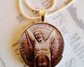 "St Andrew Apostle Pendant with 20"" Sterling Silver Chain - 32mm"