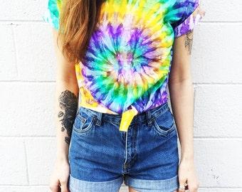 Crop Top Tie Dye Tee Women's Clothing Music Festival Clothing  Fashion Summer Wear Tshirt « cd100mardigras «« (ots, td tee) «