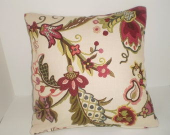 Decorative Handmade 16x16 Pillow Cover in a Floral Print. Lime Green Fabric on back cover of pillow
