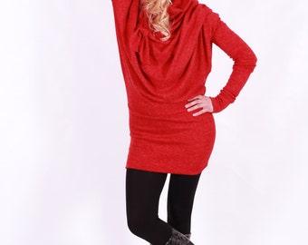 Wool Dress – Wool Sweater – XXL Dress – Womens Wool Sweater – Red Dress – Asymmetrical Dress – Asymmetric Sweater – Oversized Dress