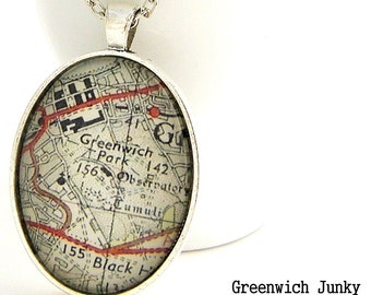 Greenwich Park London Vintage Map Glass Pendant Necklace
