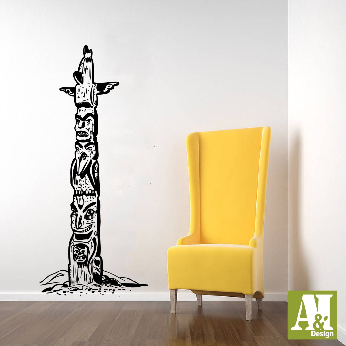 Native American Indian Totem Pole Wall Vinyl Decal By