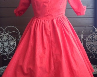 Vintage Off the Shoulder Red Party Dress with attached tulle skirt