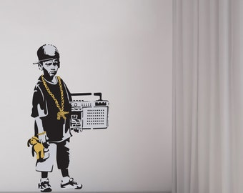 Banksy Boy Gold Chains Wall Decal