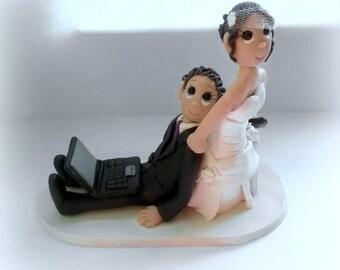 Custom Bride Dragging Groom on Laptop Cake Topper