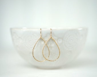 Textured Gold Teardrop Earrings