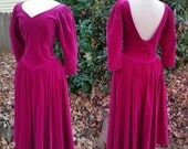 80s Laura Ashley Dress Pink Velvet, Low Back, S/M