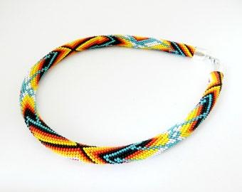 "Bead crochet rope necklace ""Indiana"". Beadwork necklace. Ready to ship. Handmade / beading  / Beadwork Jewelry"