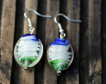 Blue, White and Green Glass Bead Earrings
