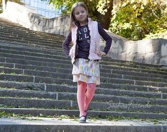 Girl's skirt, girl's ruffle skirt, handmade skirt, organic cotton, girls elastic waist skirt, frilled skirt, twirl skirt