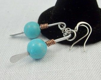 Turquoise and mixed metal earrings.  Hammered steel. Silver and Turquoise. Silver dangle earrings. Silver and turquoise. Turquoise earrings.