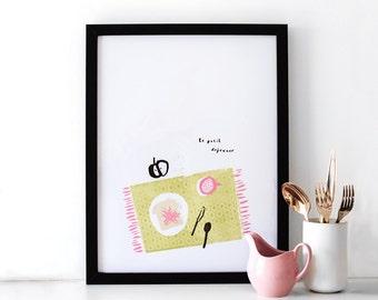 Breakfast Illustrated Art print - le petit dejeuner