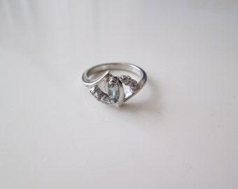 Aquamarine Vintage sterling silver ring, size 6