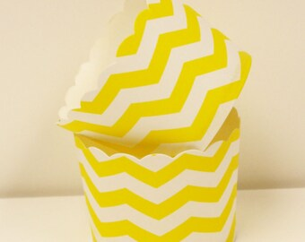 Cupcake Baking Cups, 20 Yellow Chevron Striped Cupcake Bake Cup, Paper Candy Cup, Nut Cup, Party Food Cup, Baking Supplies, Holiday Cupcake