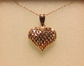 "14k Valentine Heart Basket Weave Pendant Necklace 16"" .95g"